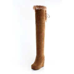 Women's Leatherette Wedge Heel Closed Toe Wedges Knee High Boots shoes (088094570)