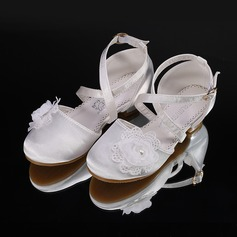Jentas Round Toe Lukket Tå Silk Som Satin Flate sko Sneakers & Athletic Flower Girl Shoes med Velcro