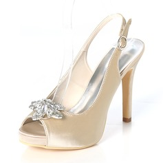 Women's Silk Like Satin Stiletto Heel Peep Toe Platform Pumps Sandals Slingbacks With Buckle Rhinestone
