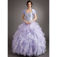 Ball-Gown Sweetheart Floor-Length Organza Quinceanera Dress With Beading Appliques Lace Cascading Ruffles