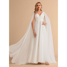 V-neck Floor-Length Chiffon Wedding Dress With Lace Sequins (265255899)