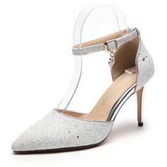 Kvinner Glitrende Glitter Stiletto Hæl Lukket Tå Pumps Sandaler med Paljetter