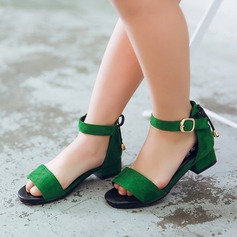 Girl's Suede Low Heel Peep Toe Sandals With Buckle