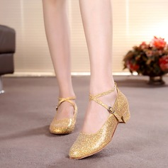 Kids' Sparkling Glitter Heels Pumps Ballroom With Ankle Strap Dance Shoes