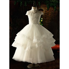 Ball Gown Ankle-length Flower Girl Dress - Organza/Satin/Tulle Short Sleeves Stand Collar With Appliques