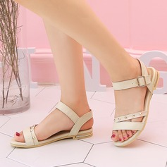 Women's PU Flat Heel Sandals Flats Peep Toe Slingbacks With Rivet Buckle shoes