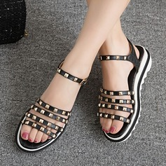Women's Leatherette Wedge Heel Sandals With Rivet Buckle shoes