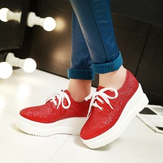 Women's Leatherette Wedge Heel Wedges With Sparkling Glitter Lace-up shoes