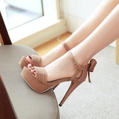 المرأة سويدي كعب ستيليتو مضخات منصة مع عقد لطيفة (بوونوت) أحذية