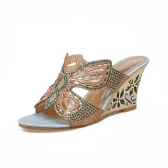 Women's Leatherette Wedge Heel Sandals Wedges With Rhinestone shoes (116094403)