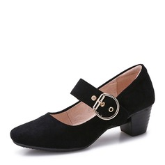 Women's Suede Chunky Heel Pumps Closed Toe Mary Jane shoes