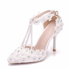 Women's Leatherette Stiletto Heel Sandals Pumps With Rhinestone Applique Imitation Pearl shoes