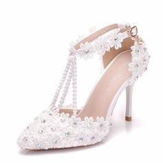 Donna Similpelle Tacco a spillo Sandalo Stiletto con Strass Applicazione Perla imitazione scarpe