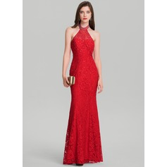 Sheath/Column Halter Floor-Length Lace Evening Dress With Beading