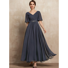 A-Line V-neck Ankle-Length Chiffon Evening Dress With Ruffle Beading Sequins (271251618)
