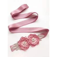 Beautiful Satin Belt With Flower/Rhinestones/Imitation Pearls