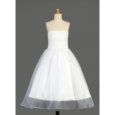 A-Line/Princess Ankle-length Flower Girl Dress - Organza Sleeveless Scoop Neck With Ruffles/Beading/Sequins