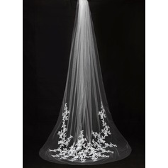 One-tier Cut Edge Cathedral Bridal Veils With Applique (006089551)