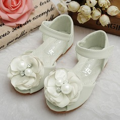 Jentas Titte Tå Leather flat Heel Sandaler Flate sko Flower Girl Shoes med Sateng Sløyfe Velcro Crystal