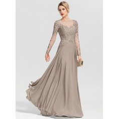A-Line Scoop Neck Floor-Length Chiffon Evening Dress With Beading Sequins (271253265)