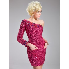 Sheath/Column One-Shoulder Short/Mini Sequined Cocktail Dress With Beading