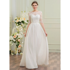 A-Line/Princess Scoop Neck Floor-Length Chiffon Lace Wedding Dress (002095838)