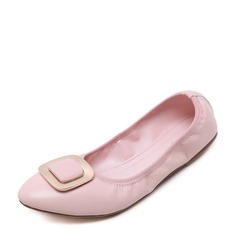 Women's PU Flat Heel Flats Closed Toe With Bowknot shoes (086138676)