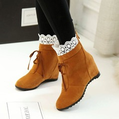 Women's Leatherette Flat Heel Boots With Bowknot Stitching Lace shoes