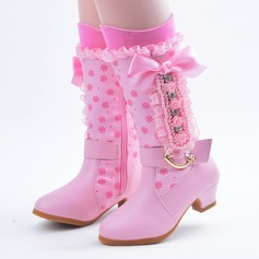 Girl's Leatherette Flat Heel Closed Toe Boots With Beading Bowknot Satin Flower Stitching Lace Zipper