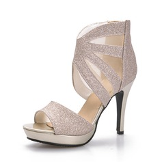 Women's Sparkling Glitter Stiletto Heel Sandals Peep Toe shoes (087084243)