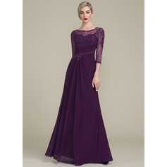 Scoop Neck Floor-Length Mother of the Bride Dress With Ruffle Beading Sequins