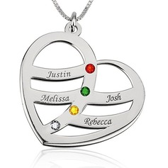 Custom Silver Four Name Necklace Heart Necklace Birthstone Necklace Engraved Necklace - Birthday Gifts Mother's Day Gifts