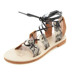 Women's Leatherette Flat Heel Sandals Flats Peep Toe Slingbacks With Lace-up shoes