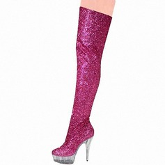 Women's Sparkling Glitter Stiletto Heel Pumps Platform Boots Over The Knee Boots With Sparkling Glitter shoes