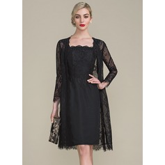 Sheath/Column Square Neckline Knee-Length Chiffon Cocktail Dress