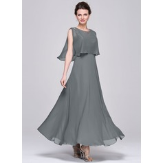V-neck Ankle-Length Chiffon Sequined Mother of the Bride Dress With Ruffle