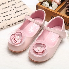 Girl's Closed Toe Leatherette Flat Heel Flats Flower Girl Shoes With Satin Flower Velcro