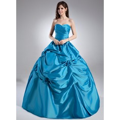 Ball-Gown Sweetheart Floor-Length Taffeta Quinceanera Dress With Ruffle Beading Flower(s)