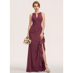 A-Line Scoop Neck Floor-Length Chiffon Evening Dress With Split Front Cascading Ruffles (271251255)