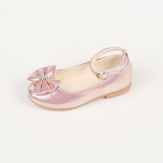 Girl's Closed Toe Leatherette Flat Heel Flats Flower Girl Shoes With Bowknot Rhinestone