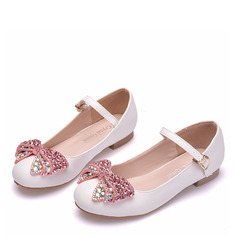Girl's Round Toe Closed Toe Mary Jane Leatherette Flats With Bowknot Buckle Crystal