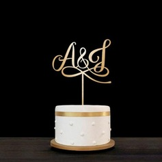 Personalized Bride & Groom's Initials Acrylic/Wood Cake Topper (119187806)