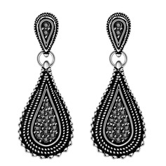 Classic Czech Stones Silver Plated Tin Alloy Ladies' Fashion Earrings