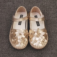 Girl's Closed Toe Microfiber Leather Flat Heel Flats Flower Girl Shoes With Flower