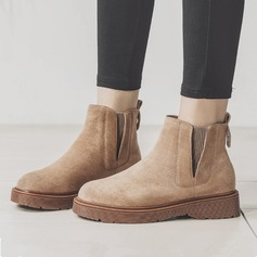 Women's Suede Flat Heel Boots Snow Boots Martin Boots With Elastic Band shoes