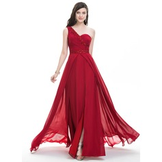 A-Line/Princess One-Shoulder Sweep Train Chiffon Prom Dress With Ruffle Beading Sequins Split Front