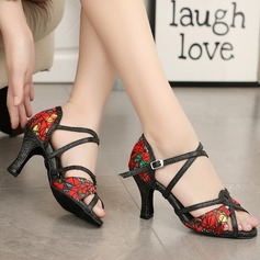 Women's Fabric Heels Sandals Latin With Ankle Strap Dance Shoes