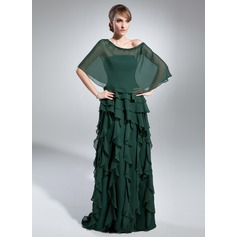 A-Line/Princess Strapless Floor-Length Chiffon Mother of the Bride Dress With Cascading Ruffles