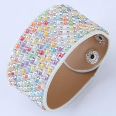 Nice Rhinestones Leatherette Women's Fashion Bracelets (Sold in a single piece)