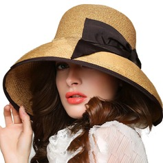 Ladies' Beautiful Rattan Straw With Bowknot Straw Hat